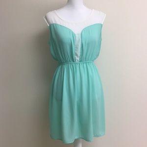 Sea foam green and white dress